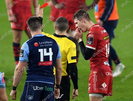 Liam Williams of Scarlets is shown a red card by Referee Craig Evans.