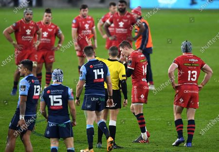 Stock Picture of Liam Williams of Scarlets is shown a red card by Referee Craig Evans.