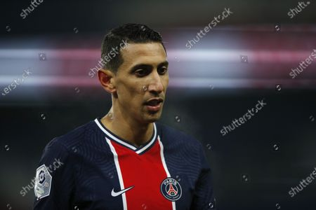 Paris Saint Germain's Angel Di Maria reacts during the French Ligue 1 soccer match between PSG and Brest at the Parc des Princes stadium in Paris, France, 09 January 2021.