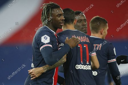Paris Saint Germain's Moise Kean (L) celebrates his goal with teammate Angel Di Maria during the French Ligue 1 soccer match between PSG and Brest at the Parc des Princes stadium in Paris, France, 09 January 2021.