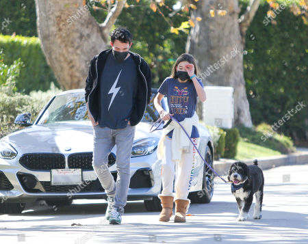 Ben Affleck and Seraphina Affleck are seen out for a walk with the dog