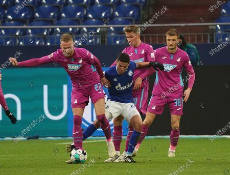 Stock Photo of Kevin Vogt (Hoffenheim), Amine Harit (Schalke), Marco John (Hoffenheim)