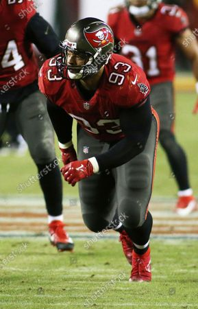 Tampa Bay Buccaneers defensive end Ndamukong Suh (93) in action during an NFL wild-card playoff football game against the Washington Football Team, in Landover, Md