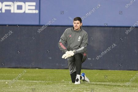 Thibaut Courtois (goalkeeper; Real Madrid) seen before the Spanish football of La Liga Santander, match between CA Osasuna and Real Madrid at the Sadar stadium, in Pamplona. (Final score; CA Osasuna 0:0 Real Madrid)