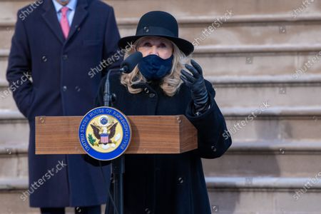 Stock Photo of Congresswoman Carolyn Maloney (D-NY) wearing a face mask speaks during a press conference at City Hall in New York City.   Mayor de Blasio joined the Congressional members and called for swift impeachment of President Donald Trump following the violent siege of the U.S. Capitol by Trump supporters that left five dead.