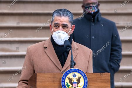 Congressman Adriano Espaillat (D-NY) wearing a face mask speaks during a press conference at City Hall in New York City.  Mayor de Blasio joined the Congressional members and called for swift impeachment of President Donald Trump following the violent siege of the U.S. Capitol by Trump supporters that left five dead.