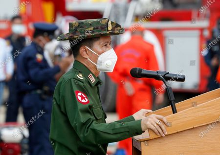 Colonel Win Tint (C), Minister of Security and Border Affairs for Yangon region, talks during an earthquake and rescue drill exercise in Yangon, Myanmar, 10 January 2021. Over 100 rescue special force members from the Yangon Fire Service Department participated in the drill.