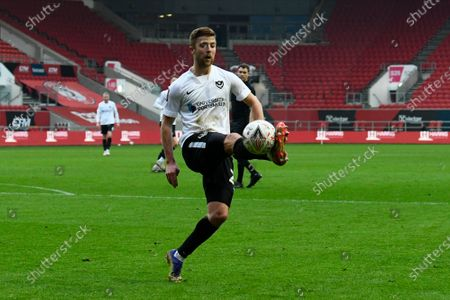 Michael Jacobs (24) of Portsmouth controls the ball during the The FA Cup match between Bristol City and Portsmouth at Ashton Gate, Bristol
