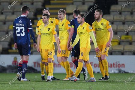 Jack Hamilton of Livingston is congratulated by team mates at the final whistle during the Scottish Premiership match between Livingston and Ross County at Tony Macaroni Arena, Livingston
