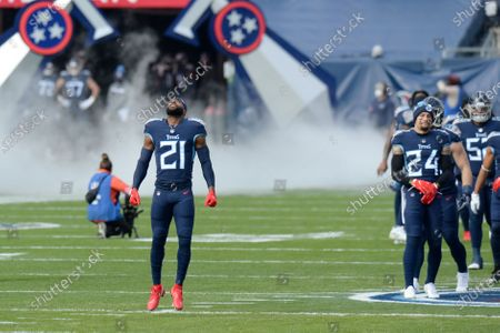 Tennessee Titans cornerback Malcolm Butler (21) takes the field before an NFL wild-card playoff football game against the Baltimore Ravens, in Nashville, Tenn