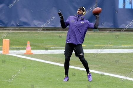 Stock Image of Baltimore Ravens wide receiver Dez Bryant warms up before an NFL wild-card playoff football game against the Tennessee Titans, in Nashville, Tenn