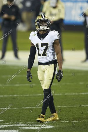 New Orleans Saints wide receiver Emmanuel Sanders (17) during an NFL football game against the Carolina Panthers, in Charlotte, N.C