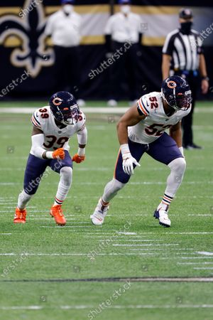 Chicago Bears free safety Eddie Jackson (39) and outside linebacker Khalil Mack (52) during an NFL wild-card playoff football game against the New Orleans Saints, in New Orleans. The Saints defeated the Bears 21-9