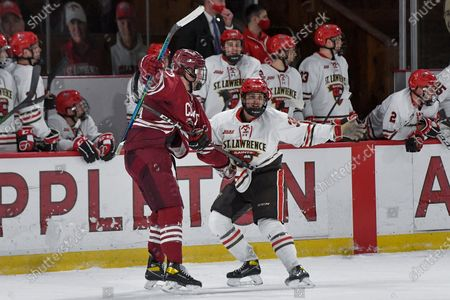 Stock Photo of St. Lawrence defenseman Philip Alftberg, right, motions toward an official while tangled up with Colgate forward Jeff Stewart (23) during the second period of an NCAA hockey game on in Canton, N.Y