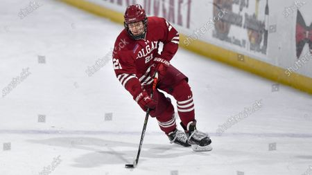 Colgate forward Alex Young (21) skates against St. Lawrence during an NCAA hockey game on in Canton, N.Y