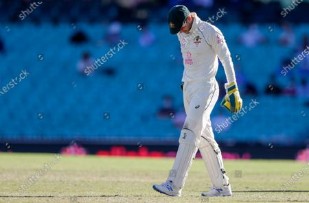 Australian captain Tim Paine reacts during play on the final day of the third cricket test between India and Australia at the Sydney Cricket Ground, Sydney, Australia