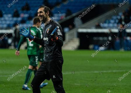 Espanyol's goalkeeper Diego Lopez reacts during a Spanish second division football match between RCD Espanyol and CD Castellon in Cornella, Spain, Jan. 10, 2021.