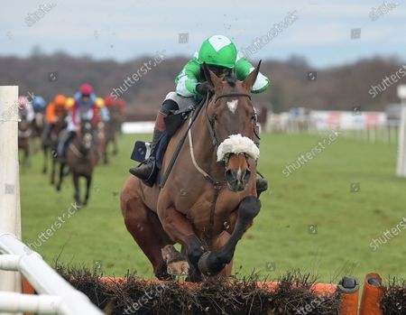 Stock Image of SOLWARA ONE with James Best wins Sky Bet Britain's Most Popular Online Bookmaker Novice Hurdle at Doncaster