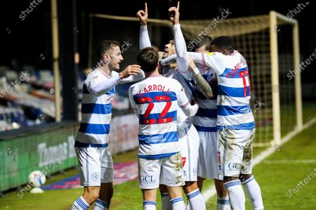 Macauley Bonne of QPR  celebrates his goal with tribute to his sister with Dominic Ball of QPR,Lyndon Dykes of QPR, Tom Carroll of QPR & Bright Osayi-Samuel of QPR