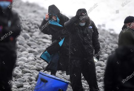 Jodie Whittaker during filming of Dr Who in Barry, South Wales.