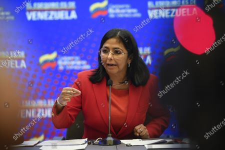 Venezuelan Vice President Delcy Rodriguez gives a press conference at Miraflores presidential palace in Caracas, Venezuela, . Rodriguez denounced the alleged presence of a U.S. coast guard vessel near its jurisdictional waters and rejected the holding of military exercises between the United States and Guyana in the disputed territory