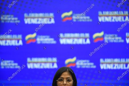 Stock Picture of Venezuelan Vice President Delcy Rodriguez gives a press conference at Miraflores presidential palace in Caracas, Venezuela, . Rodriguez denounced the alleged presence of a U.S. coast guard vessel near its jurisdictional waters and rejected the holding of military exercises between the United States and Guyana in the disputed territory