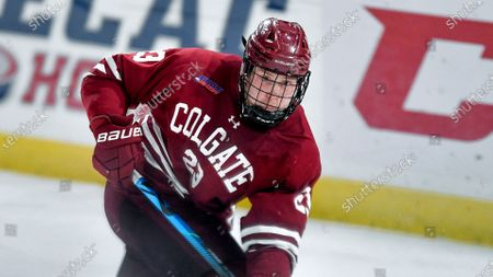 Stock Picture of Colgate forward Jeff Stewart (23) skates against St. Lawrence during an NCAA hockey game on in Canton, N.Y
