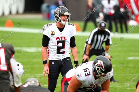 Atlanta Falcons quarterback Matt Ryan (2) shouts at the line of scrimmage during the first half of an NFL football game against the Tampa Bay Buccaneers, in Tampa, Fla