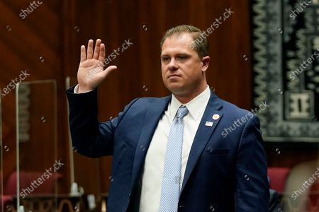Rep. Jake Hoffman, R-Queen Creek, is sworn in during the opening of the Arizona Legislature at the state Capitol, in Phoenix