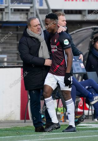 Luis Sinisterra (Feyenoord) and Trainer Dick Advocaat