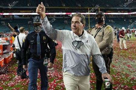 Alabama head coach Nick Saban leaves the field after their win against Ohio State in an NCAA College Football Playoff national championship game, in Miami Gardens, Fla. Alabama won 52-24