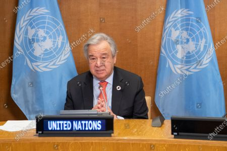 United Nations Secretary-General Antonio Guterres addresses the virtual One Planet Summit at the UN headquarters in New York, on Jan. 11, 2021. Guterres on Monday called for greater efforts to protect biodiversity and step up climate action.