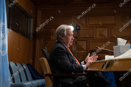 Stock Photo of United Nations Secretary-General Antonio Guterres addresses the virtual One Planet Summit at the UN headquarters in New York, on Jan. 11, 2021. Guterres on Monday called for greater efforts to protect biodiversity and step up climate action.