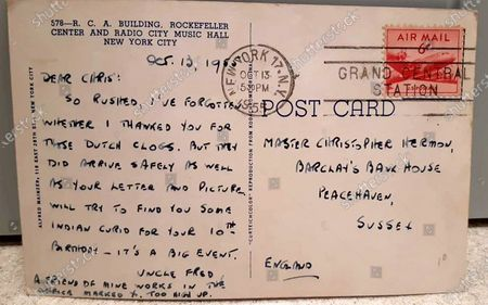 The message on the long 'lost' postcard.   A 'lost' postcard from 1955 has finally been delivered to its recipient 66 years later.  Chris Hermon, 75, was sent it from an American pen pal when he was a young boy living in Sussex but it never reached its destination.  However, the correspondence was recently discovered at a charity shop in Dorchester, Dorset.