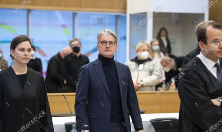 Former CEO of German carmaker Audi AG Rupert Stadler (C) prior the continuation of the criminal trial of the Volkswagen diesel scandal in the courtroom at the Stadelheim prison in Munich, Germany, 12 January 2021.