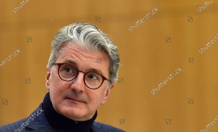 """Rupert Stadler, former CEO of German car manufacturer Audi sits in a regional court room in Munich, Germany, . Stadler stands trial in Germany over the """"dieselgate"""" emissions scandal, five years after parent company VW admitted responsibility"""