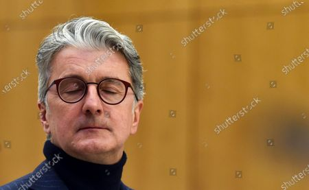 "Rupert Stadler, former CEO of German car manufacturer Audi sits in a regional court room in Munich, Germany, . Stadler stands trial in Germany over the ""dieselgate"" emissions scandal, five years after parent company VW admitted responsibility"