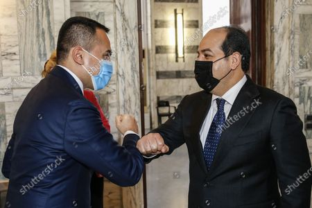 Italian Foreign Affairs Minister Luigi Di Maio (L) greets Libya's UN-backed Government of National Accord (GNA) Deputy Prime Minister and Vice Chairman of the Presidential Council of Libya Ahmed Maiteeq (R), during a bilateral meeting in Rome, Italy, 12 Jannuary 2021.