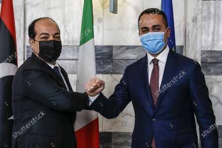 Italian Foreign Affairs Minister Luigi Di Maio (R) greets Libya's UN-backed Government of National Accord (GNA) Deputy Prime Minister and Vice Chairman of the Presidential Council of Libya Ahmed Maiteeq (L), during a bilateral meeting in Rome, Italy, 12 Jannuary 2021.