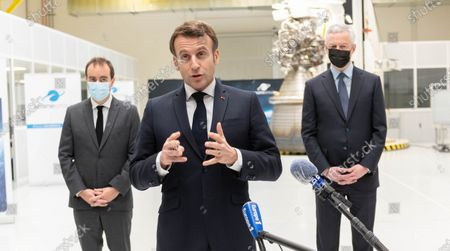 French Overseas Minister Sebastien Lecornu, French President Emmanuel Macron and French Economy Minister Bruno Le Maire.
