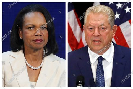 This combination of 2019 photos shows former U.S. Secretary of State Condoleezza Rice, left, in Abu Dhabi, United Arab Emirates, and former U.S. Vice President Al Gore in New York. On, officials say Rice and Gore are participating in a new initiative at Vanderbilt University focused on bridging the partisan divide in the U.S