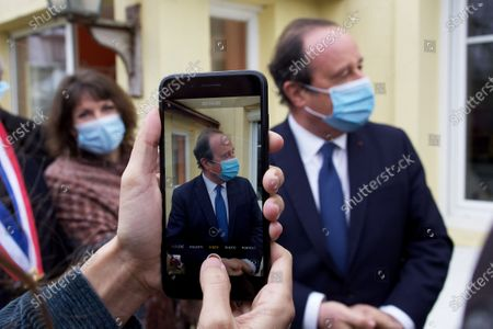 Editorial photo of Former French President Francois Hollande speaks to the press about vaccine, Nazelles-Negron - 12 Jan 2021