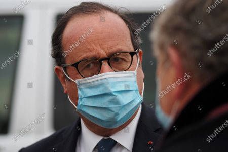 Stock Image of Former French President Francois Hollande speaks to the press about the Coronavirus vaccine in Central France