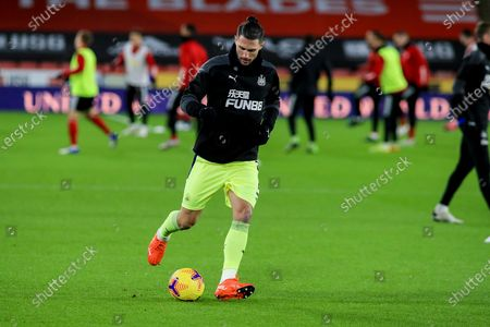 Newcastle United defender Fabian Schar (5) in the pre match warm up during the Premier League match between Sheffield United and Newcastle United at Bramall Lane, Sheffield