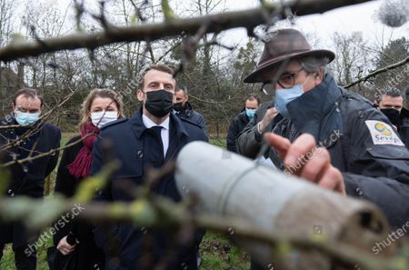 French Overseas Minister Sebastien Lecornu, French Ecological and Social Transition Minister Barbara Pompili, Emmanuel Macron and Michel Galmel.
