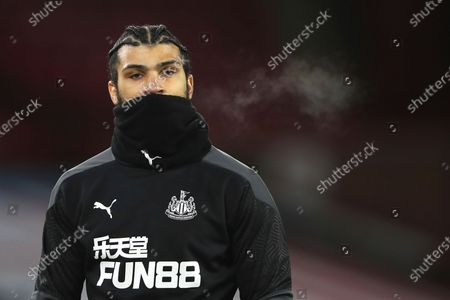 Stock Picture of Newcastle's DeAndre Yedlin warms up before the English Premier League soccer match between Sheffield United and Newcastle United at the Bramall Lane stadium in Sheffield, England