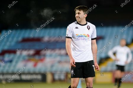 Stock Image of Salford City Luke Burgess (15) half body  during the EFL Sky Bet League 2 match between Scunthorpe United and Salford City at the Sands Venue Stadium, Scunthorpe