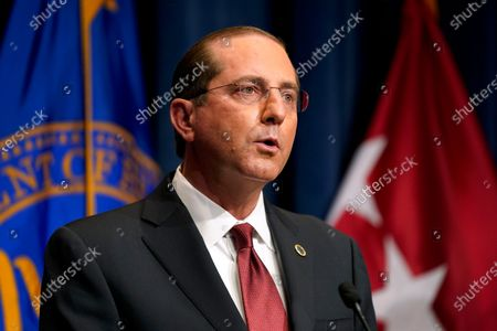 Stock Picture of Health and Human Services Secretary Alex Azar speaks during a news conference on Operation Warp Speed and COVID-19 vaccine distribution, in Washington