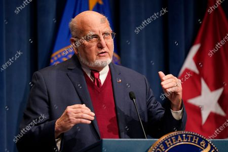 Dr. Robert Redfield, director of the Centers for Disease Control and Prevention, speaks during a news conference on Operation Warp Speed and COVID-19 vaccine distribution, in Washington