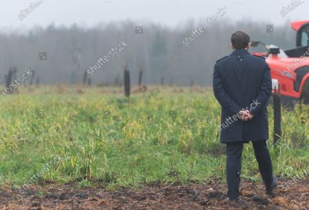 French President Emmanuel Macron visits Le Ruelles farm with the French Ecological and Social Transition Minister Barbara Pompili, French Agriculture Minister Julien Denormandie and French Overseas Minister Sebastien Lecornu.